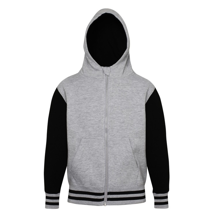 Just Hoods Kids Varsity Hoodie Jet Black//Heather Grey